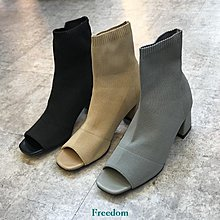 Freedom女鞋小小蘇韓國女鞋歐美風魚嘴彈力布套筒粗中跟襪子靴涼靴夏百搭B69F
