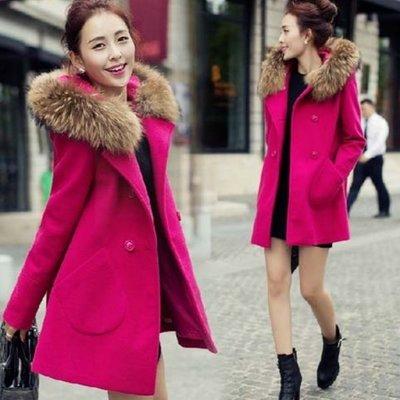 大衣 #E-045毛領帽枚紅甜美百搭外套款