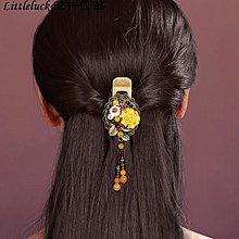 流行飾品煙雨江南髮夾黃色頂夾邊夾淑女復古大號髮飾民族風復古原創設計