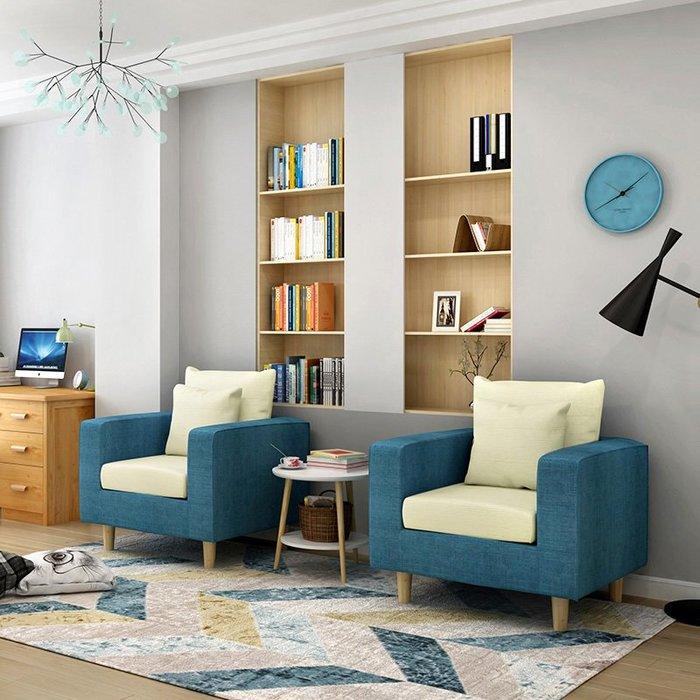 沙發客廳布藝沙發小戶型家具現代簡約單人沙發客廳沙發【優品城】