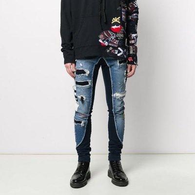 Greg Lauren X Paul & Shark distressed combined trousers 男連乘異材質拼接仿舊單寧褲 限時超低折扣代購中