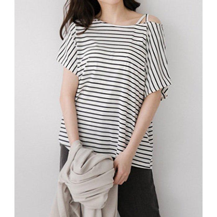 【Hao Da】全館399免運↘「M~XL。現貨」單邊交叉肩帶 條紋口袋上衣 (C1141)
