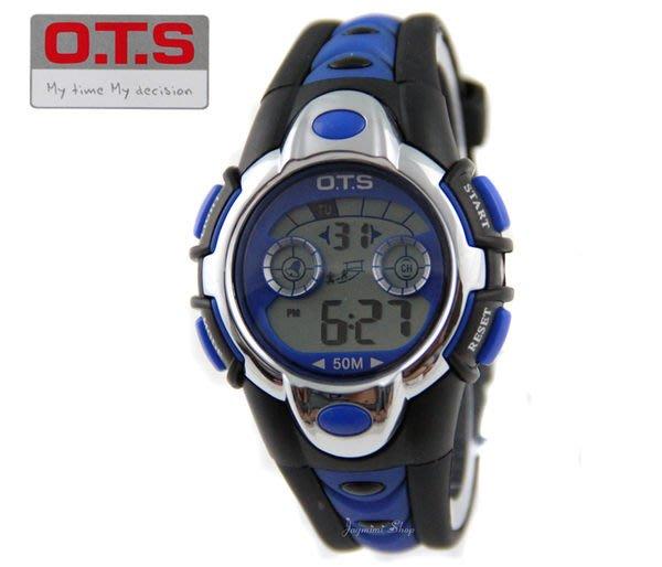 【JAYMIMI傑米】 OTS 奧迪斯 運動防水冷光錶 彩燈冷光變化 防水50M 軍人 兒童錶   藍色