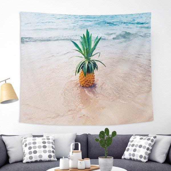 TYZ北歐黑底彩色菠蘿風布藝掛布 掛毯、沙灘巾、桌布『下單請備註款式』尺寸約200cmx150cm *星鑽樂園*