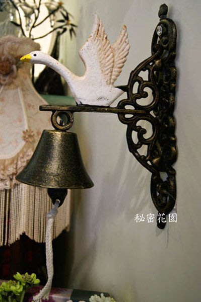 天鵝鑄鐵鐘--秘密花園--南法風展翅的白天鵝鐵製門鈴/鑄鐵鐘~敲響希望的鐘