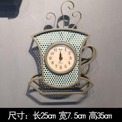 咖啡造型复古挂钟立体六边形铁艺装饰壁挂酒吧服装店橱窗摆件挂饰