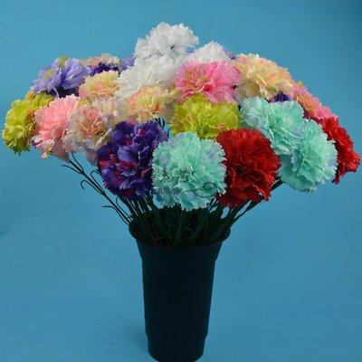 高仿花仿真花人造塑料花單支康乃馨絹花假花裝飾花擺設母親節送花