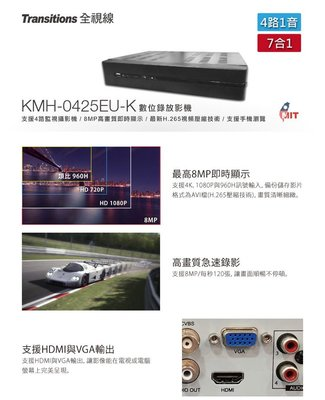 【皓翔】  全視線  KMH-0425EU-K   4路1音 7合1  台灣製造 數位 監視 監控錄影主機
