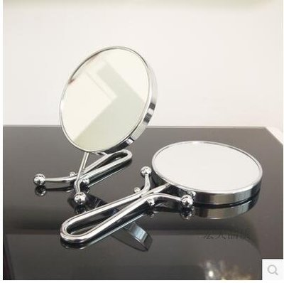 15CM雙面手柄鏡 台式折疊鏡 便攜梳妝鏡 隨身旅行化妝鏡