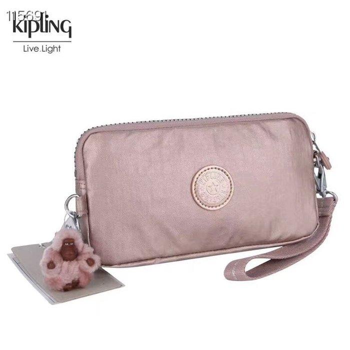 Kipling 猴子包 金屬粉 K70109 拉鍊手掛包 零錢包 長夾 手拿包 鈔票/零錢/卡包 輕便多夾層 防水 限量