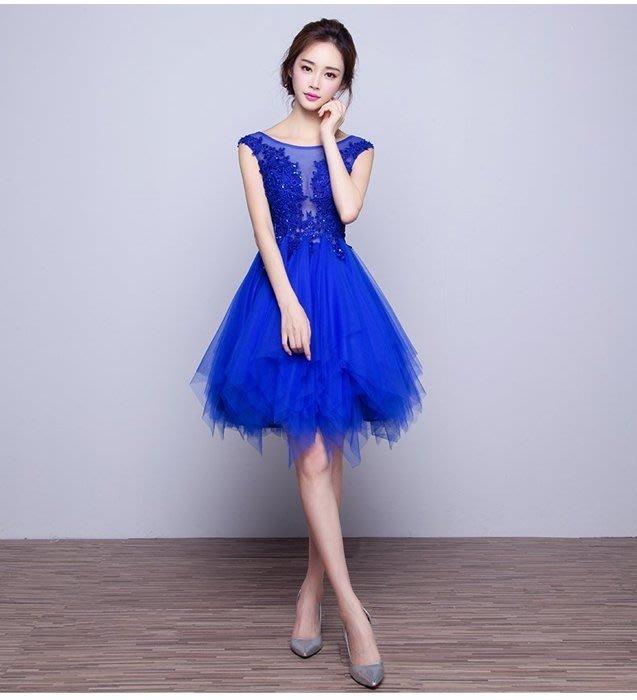 大小姐時尚精品屋~~新娘伴娘修身顯瘦不規則裙襬短禮服~3件免郵