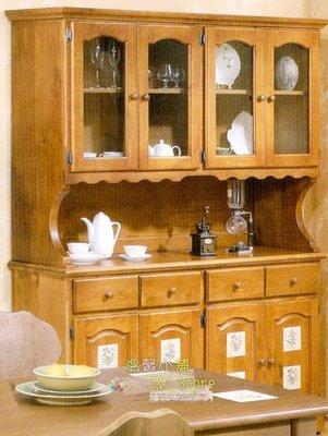 原木備餐櫃 餐邊櫃 碗盤廚櫃 廚房收納櫃 4門大餐櫃 紐松原木家具