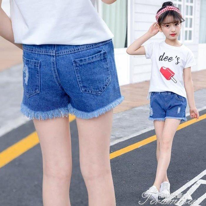 [免運]女童牛仔短褲 新款夏裝韓版外穿薄款破牛仔褲中大童兒童褲子潮~【雅姿】