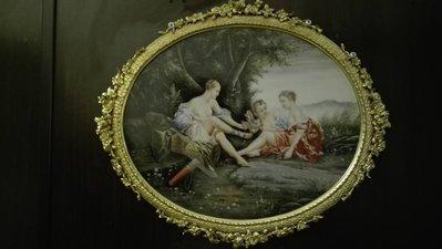 銅框  手繪  瓷畫 Francois Boucher 風格  有kpm 刻痕 賣6萬8