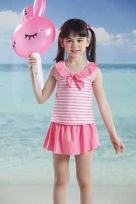 A&T【泳之美】女童粉紅條紋二件式泳衣(附帽)$原價1100~67796~M.L.XL.2L