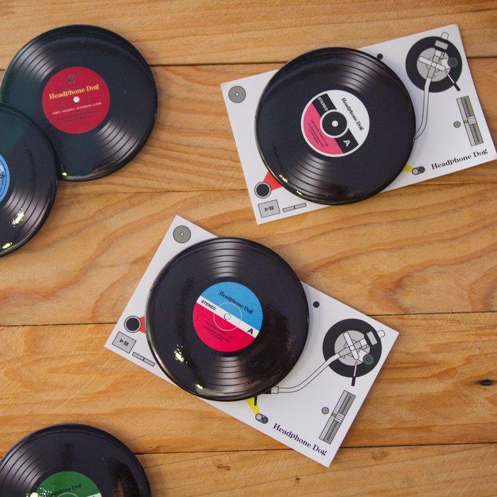 黑膠唱機造型 徽章/胸章/胸針 特大(XL: 58mm)音樂設計款