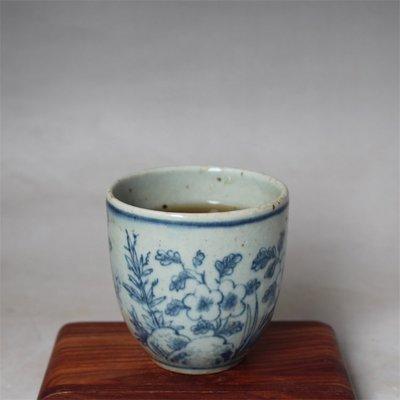 隨夢的珍藏~ 大號明青花瓷花卉杯 古董古玩 老貨舊貨 老窯瓷仿古瓷器擺件收藏