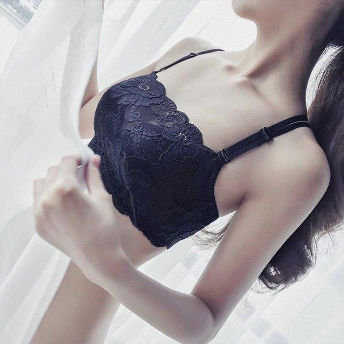 防走光裹胸抹胸式內衣小胸厚款聚攏女文胸套裝交叉美背露背胸罩