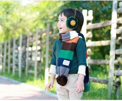 ☆小天使衣舖☆ 韓版大毛球彩條保暖圍巾/兒童秋冬圍巾