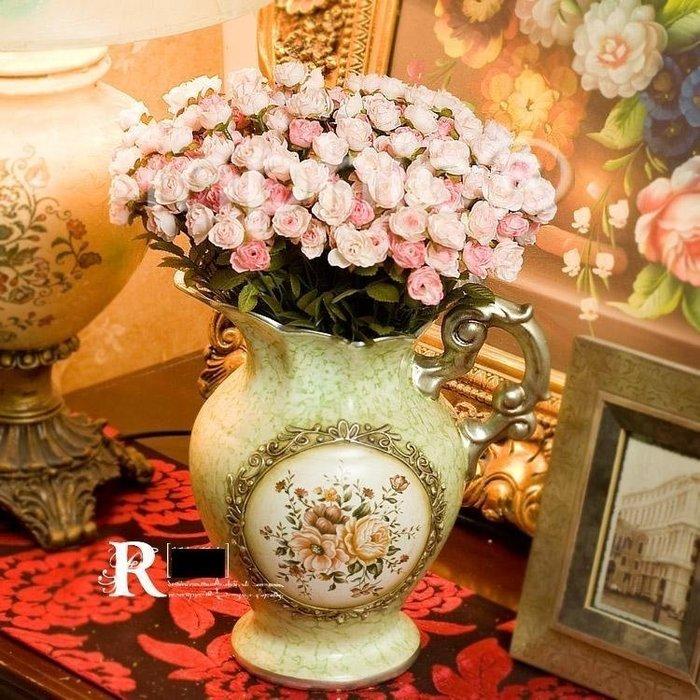INPHIC-歐式田園風 手繪花壺4束法國琳達小玫瑰 仿真花套裝