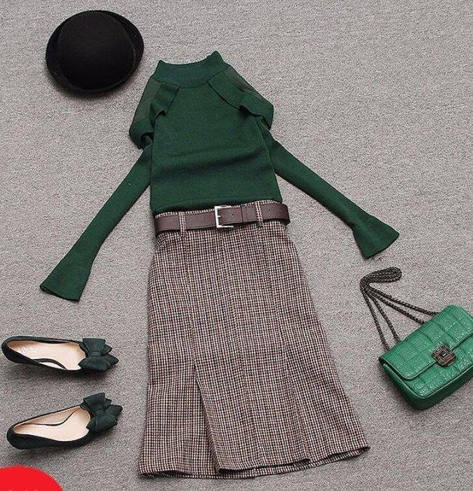 針織衫+半身裙 套裝 新款女裝氣質顯瘦兩件套針織衫配格子半身裙—莎芭