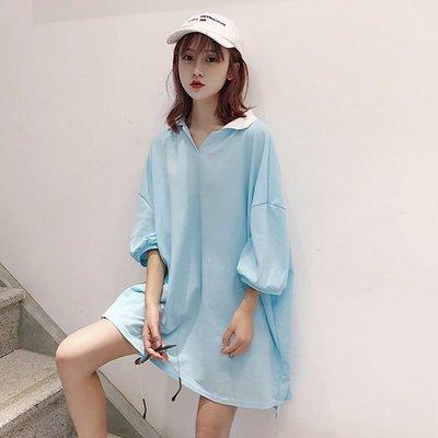 2018夏季新款女裝韓版學生純色休閑polo領短袖T恤上衣中長款顯瘦