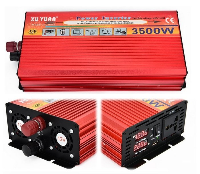 【Sun】XUYUAN 3500W 修正弦波電源轉換器 DC12V 轉 AC110V  帶數位錶頭