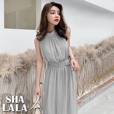 SHA LA LA 莎菈菈 韓版度假風修身顯瘦無袖收腰雪紡連衣裙長洋裝2色附腰帶2019031413預購款