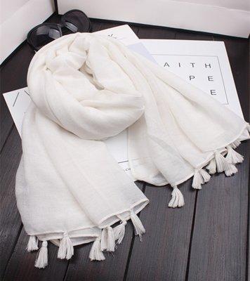 【Lady Luck服飾】春夏新款日系外貿原單純色小清新文藝民族風棉麻圍巾防曬披肩