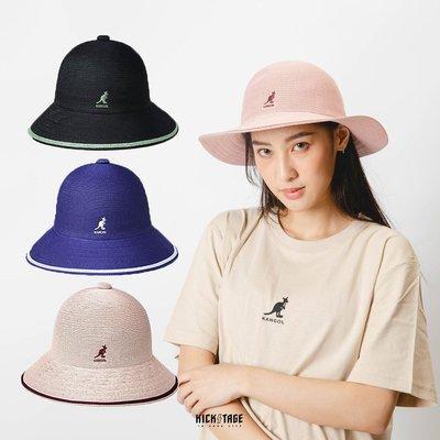 【PD帽饰】KS▸KANGOL TROPIC WIDE BRIM STRIPE CASUAL 黑 藍 粉 袋鼠 編織 透氣 鐘型帽