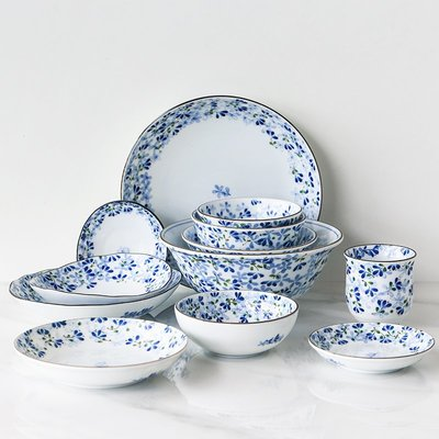 玻璃杯 馬克杯 牛奶杯 咖啡杯 水杯疏影 日本進口小藍芽陶瓷碗盤餐具釉下彩米飯碗家用面碗湯碗