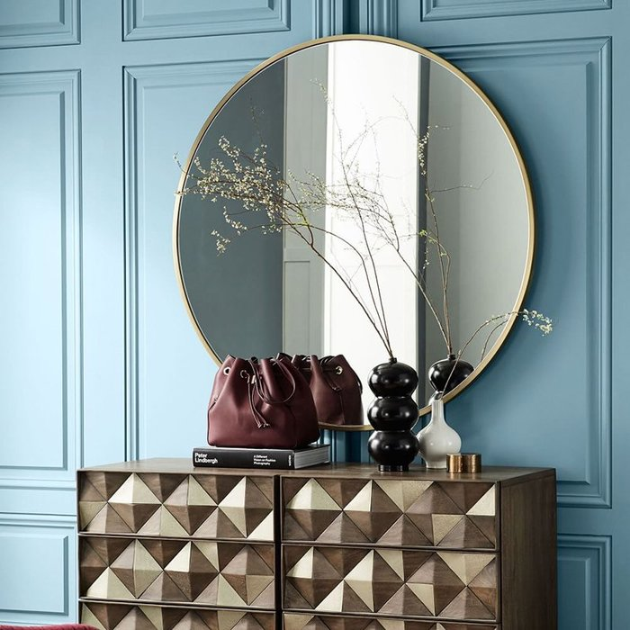 訂製 直徑50公分 金屬壁掛鏡 圓形鏡子 化妝鏡 浴室鏡 圓鏡穿衣鏡創意鏡裝飾鏡