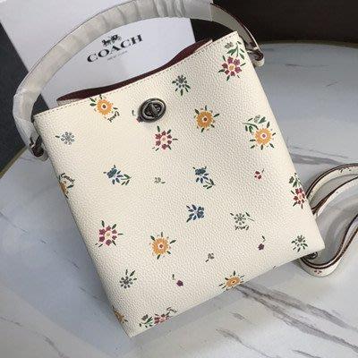 【八妹精品】COACH 1041 新款女士碎花小號水桶包 女式手提包 單肩背包 斜跨包 側背包 女包