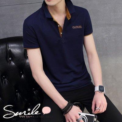 【Y140】SMILE-帥性穿著.夏季男韓版修身配色翻領短袖POLO衫