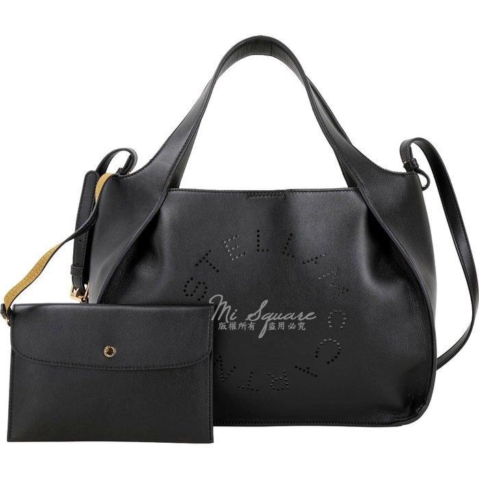 米蘭廣場 Stella McCartney 穿孔字母皮革手提/肩背托特包(黑色) 1830557-01