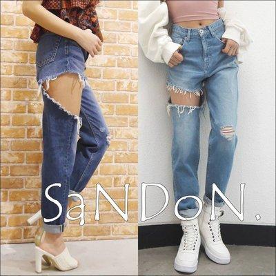 SaNDoN x『EVRIS』想賣弄一點性感 破洞個性丹寧實拍牛仔褲 MURUA  SLY 180503