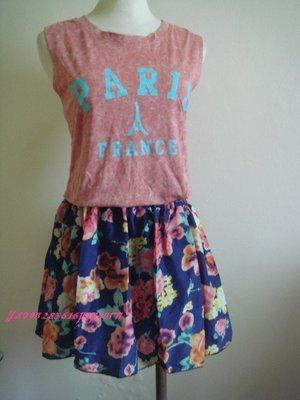 兩件式紅色無袖渲染鐵塔背心 鬆緊碎花甜美可愛日系短裙褲裙套裝