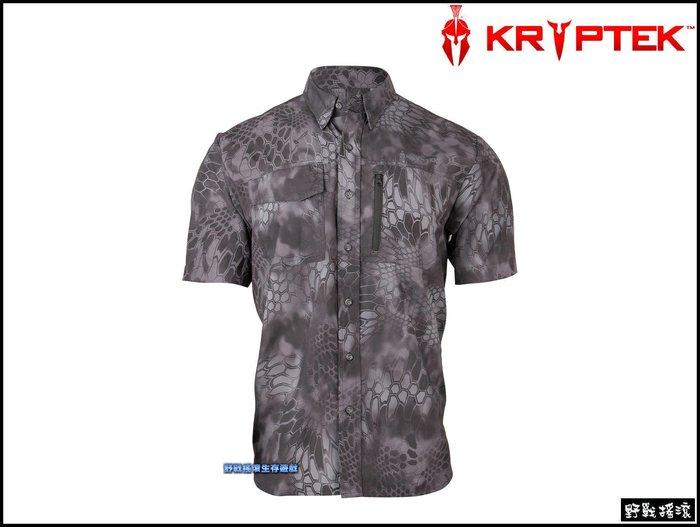 【野戰搖滾-生存遊戲】美國 Kryptek 探險家速乾短袖襯衫【Typhon】 黑色蟒蛇迷彩服排汗衫工作服戰術短袖T恤