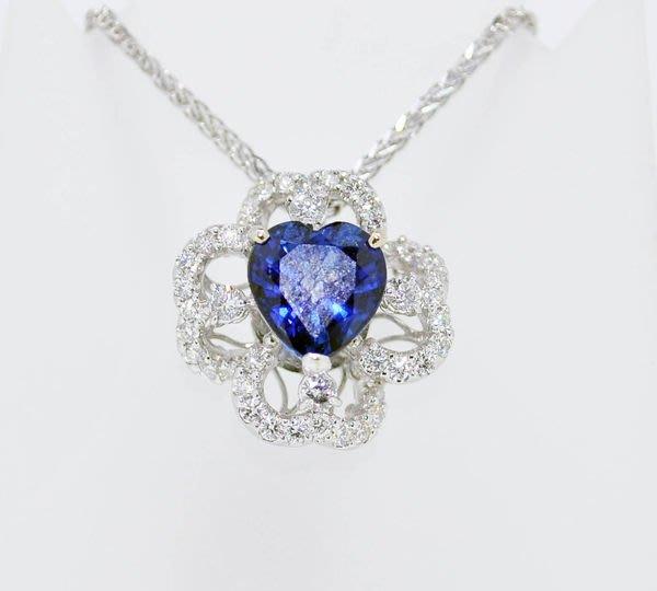【JHT 金宏總珠寶/GIA鑽石專賣】天然藍寶鑽石墜鍊 心型切割 3.42克拉  (D00003)*