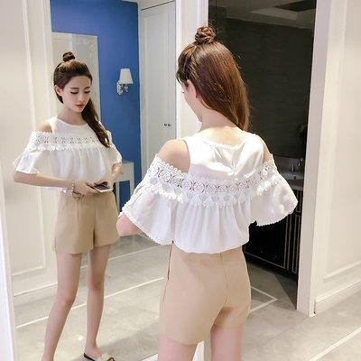 韓版寬鬆短袖露肩網紗拼接上衣*預購款