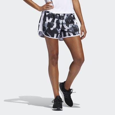 【豬豬老闆】ADIDAS MARATHON 20 SPEED SPLITS 黑白 印花 短褲 女款 DQ2651