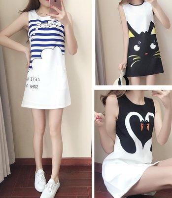 GOGO SHOP☆╭韓國夏季新品 可愛圖案設計背心裙 時尚顯瘦小清新露肩洋裝【Y1488】S~XL無袖連身裙 A字裙
