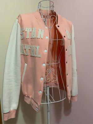 二手衣物.韓國空運 Discovery Island 正韓 少女粉色美式刺繡拼貼內刷毛純棉100%棒球外套 新北市