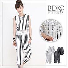 巴帝可爾BDKR*黑白歐美英倫風休閒拼接蕾絲腰【BJ202】無袖上衣直條紋七分褲兩件式套裝