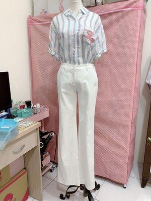 歐洲高級精品服飾CNC水晶圖案白色棉質直筒長褲
