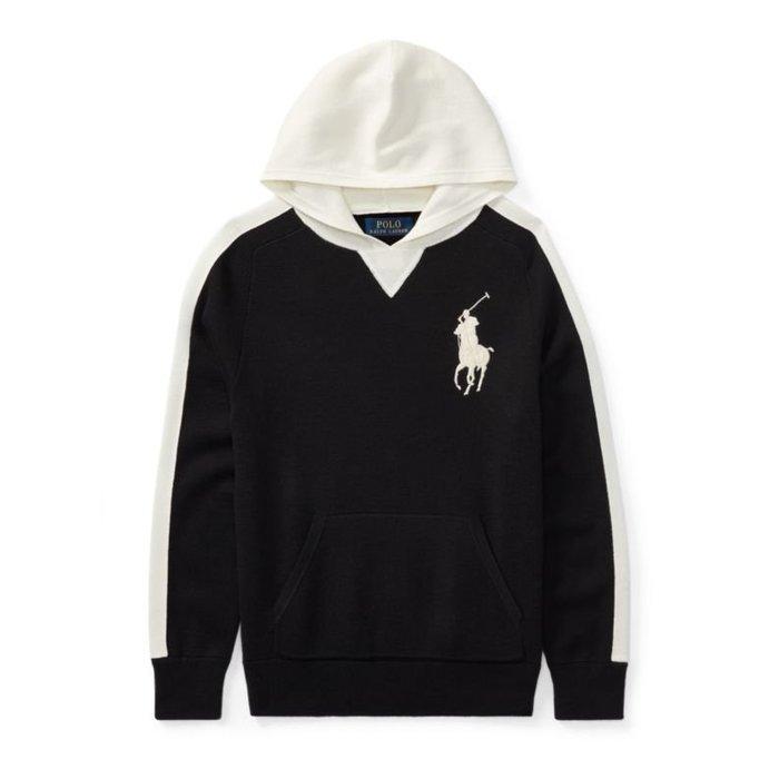 美國百分百【全新真品】Ralph Lauren RL 連帽 帽T T恤 長袖 大馬 針織 POLO 黑色白色 I771