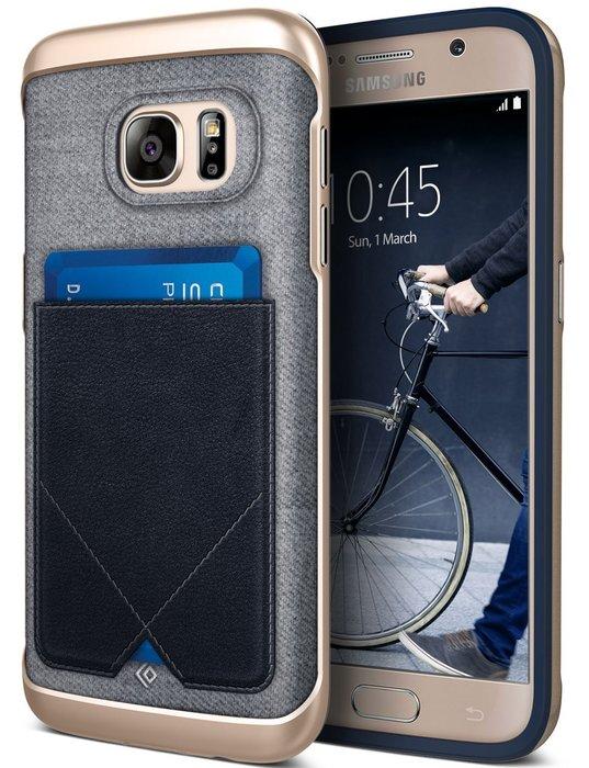 Caseology Messenger Samsung 三星 Galaxy S7 皮革插卡保護套 手機殼 金邊框 深藍