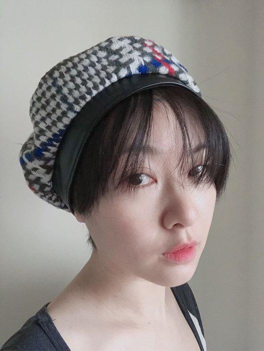 SEYES 復古英倫百搭毛呢格紋畫家貝蕾帽