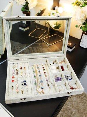 首飾盒多功能防塵絨布首飾盒耳釘耳環收納盒手項錬飾品收拾百寶箱珠寶箱