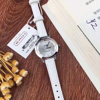 【Woodbury Outlet Coach 旗艦館】COACH 14502536 白色真皮女錶 石英手錶 美國代購